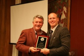 Phil Bourke pictured with Dale Moorehouse (NVCC All-Rounder of the Year 2014)