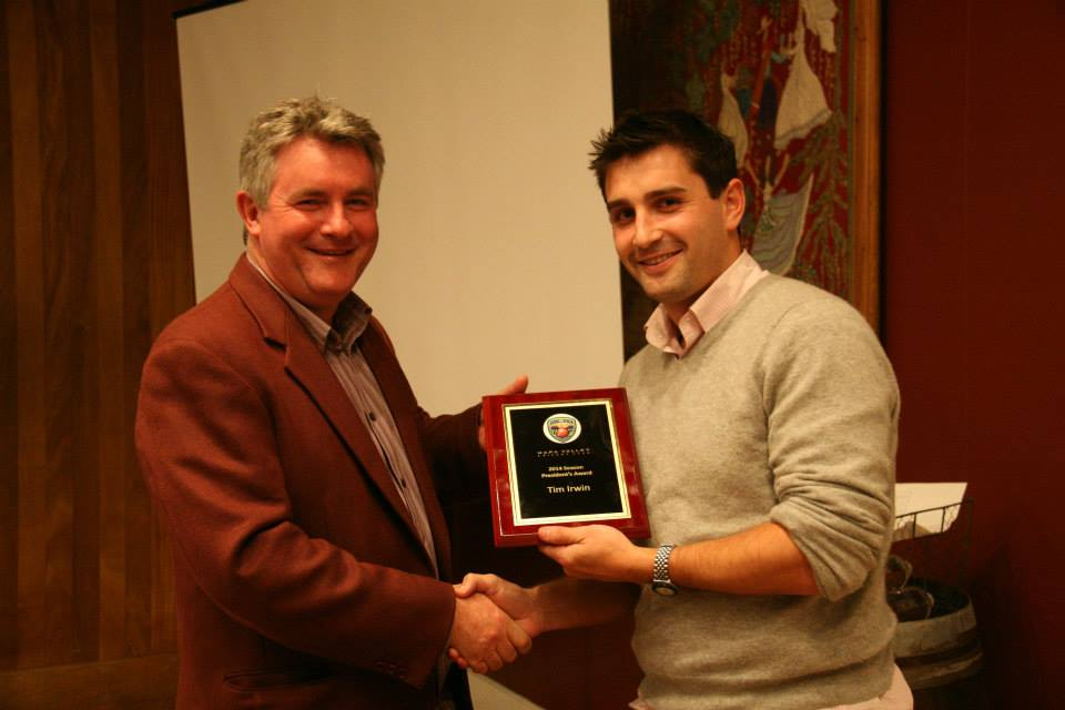 Phil Bourke pictured with Tim Irwin (NVCC Presidents Award 2014)