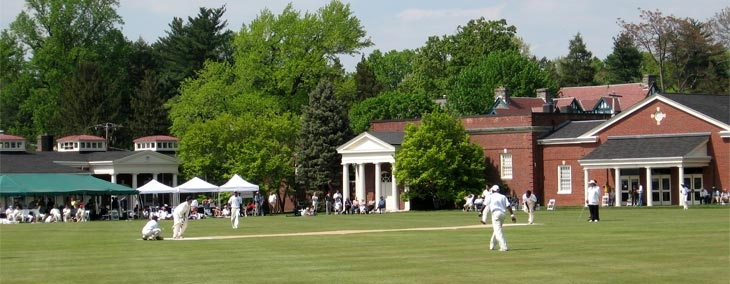 Philadelphia Cricket Club with their pavilion in the background