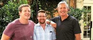 Robin Akhurst (center) Winemaker at Swanson Vineyards pictured with Paul Wallace (L) (Ireland and B & I Lions) and Gavin Hastings (Scotland and B & I Lions)