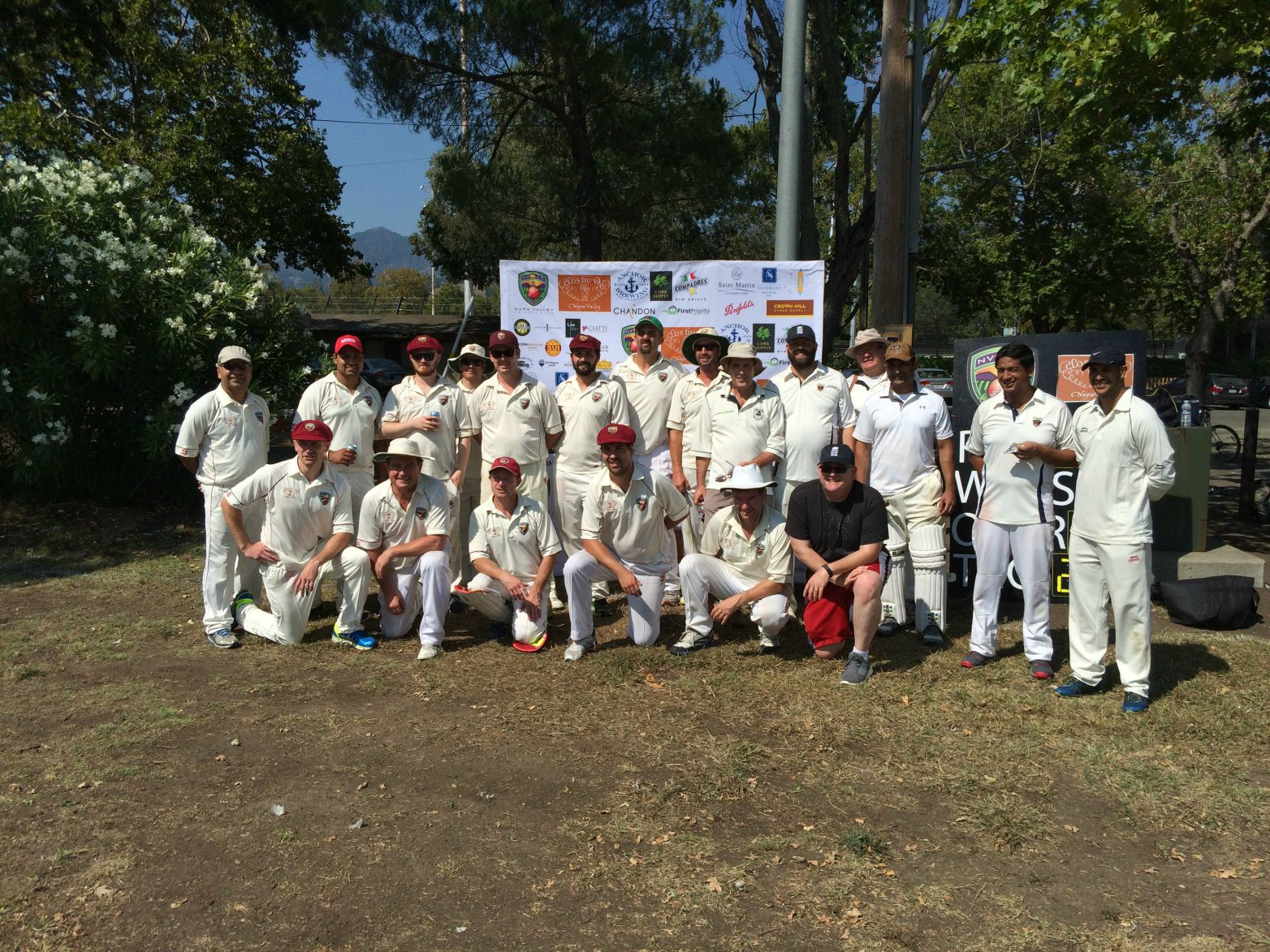 Team shot of the NVCC and Marin CC at the end of their recent game at the Fairgrounds in Calistoga