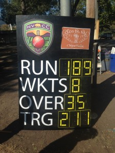 The Final Scoreboard as NVCC beat Sacramento by 21 runs