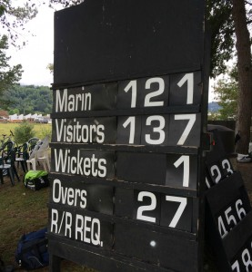The final scoreboard as NVCC ran out winners against Marin CC by 16 runs Napa Cricket Napa cricket Marin