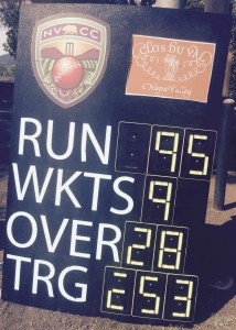 The final scoreboard as Sonoma Gullies win the first game of the 2015 series against NVCC. Credit Andrew Healy