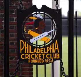 The gates at the Philadelphia Cricket Club proudly displaying their history, which dates back to 1854