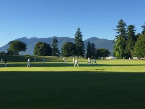 The mountains to the north of Vancouver as seen from Stanley Park as the NVCC played their first international tour match recently