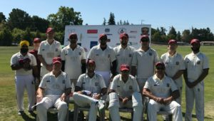 The victorious Rest of the World team who won the 2017 Napa Valley World Series of Cricket trophy. Submitted photo