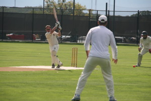Tour Captain Colin Nolan hitting through mid-wicket